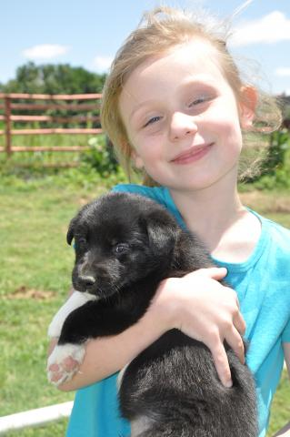 Kit with one of Pretty and Brett's puppies. Photo